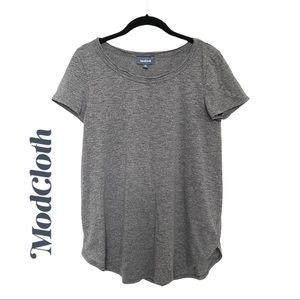 Modcloth Grey Capped Sleeve Round Neck Tee Shirt